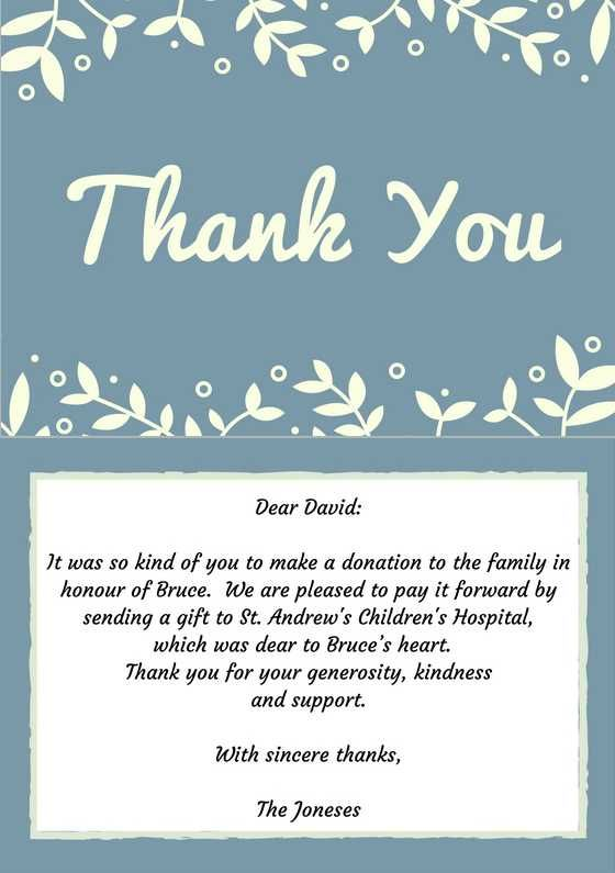 Funeral Thank You Notes Wording Sympathy Thank You Note Examples - donation thank you letter