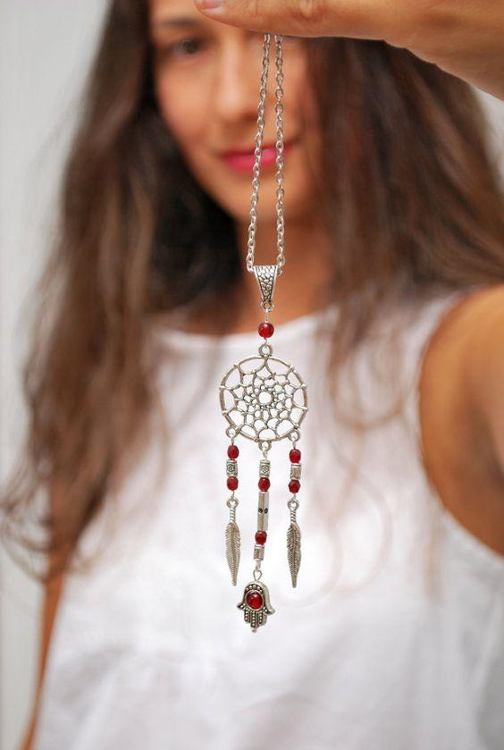 Dream Catcher necklace, hippie festival necklace, hamsa hand necklace, boho hippie necklace, namaste, good luck jewelry. Dreamcatcher.