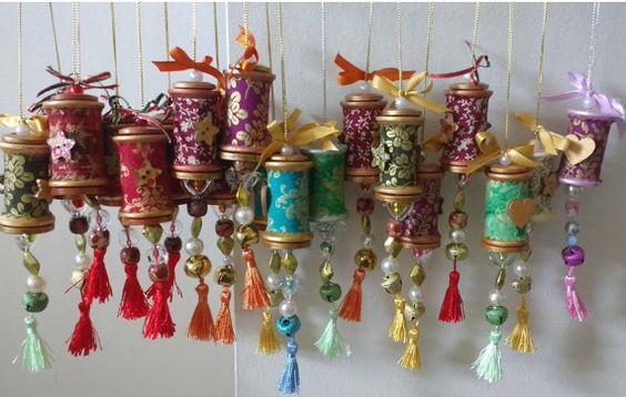 Set van 3 rustiek hout Spool ornamenten met verschillende kleuren en…