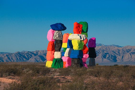 "lawrenceleemagnuson: "" Ugo Rondinone (Swiss 1964) new work Seven Magic Mountains (2016) Installation: seven stone sculptures, Ivanpah Valley, Nevada """