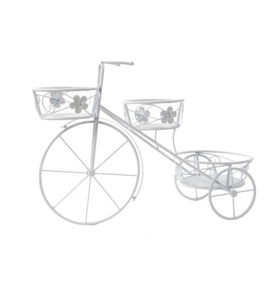 Bicicleta macetero triple blanco forja