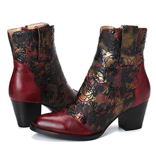 Chaussures de Ville Santiag Hiver en Cuir Synth/étique /à Talons Plat Bout Rond Boots Western Cowboy Brod/ées Marron Noir Gris pour Pieds Larges Mollets gracosy Bottines Femmes Plates