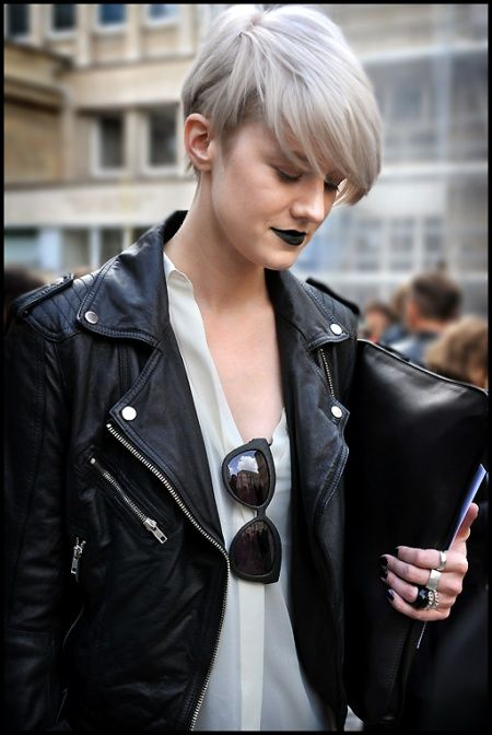 Bleached hair and black lipstick