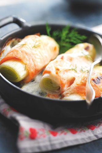 Rouleau de poireau au saumon