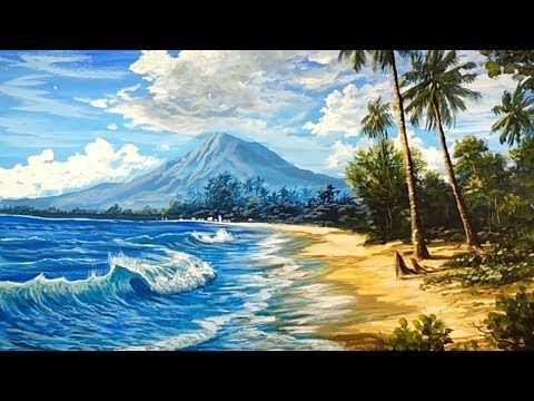 Lets Watch Easy Acrylic Painting A Natural Beach With Mountain View In The Beauty Of Art Youtub Simple Acrylic Paintings Nature Paintings Mountain Paintings