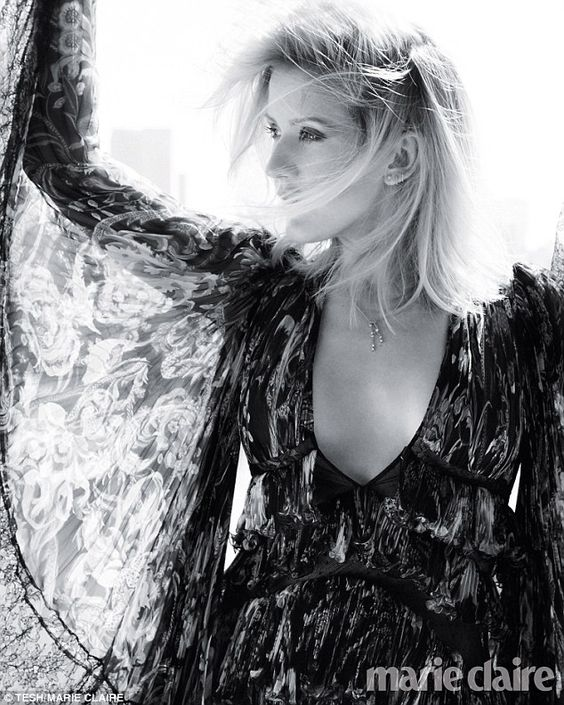 Ethereal: Ellie Goulding dazzles in the magazine for a black and white photo while wearing...: