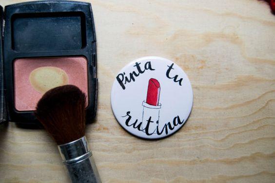 Espejo de bolso/Pocket mirror /pintalabios por MrsBowDesign en Etsy