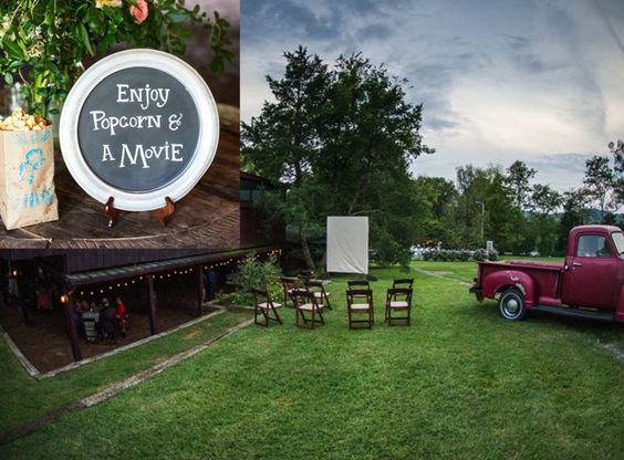 Ever heard of an outdoor movie at your wedding? Now you have! Cedarwood Wedding featured on The Wedding Chicks