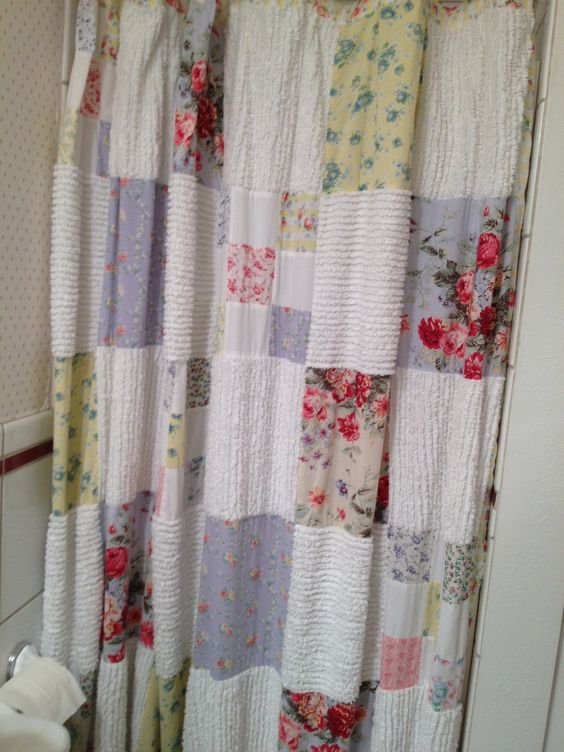 Pin By Marie Simon On Bathroom Re Do Patchwork Curtains Cute Shower Curtains Quilted Curtains