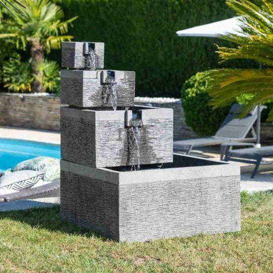 Fontaine De Jardin Bassin Carre 4 Coupes Noir Gris Fontaine De