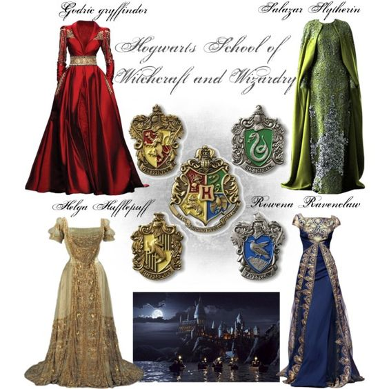 Hogwarts School of Witchcraft and Wizardry by screamingsam on Polyvore featuring Georges Hobeika, ravenclaw, gryffindor, slytherin, hogwarts and hufflepuff
