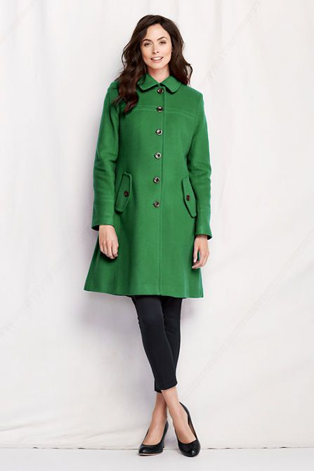 Women's Luxe Wool Swing Car Coat from Lands' End - Juniper Green