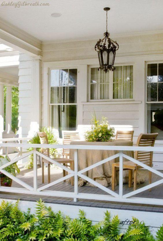 Wood railings on decking