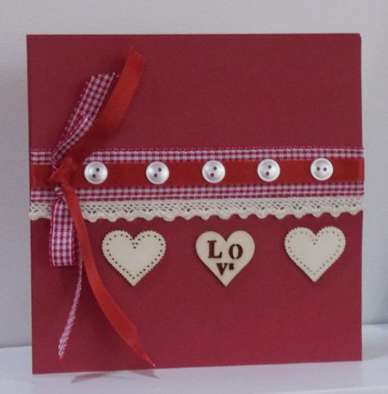 LOVE Card with Ribbon lace and hearts by thesparklyfairy on Etsy, £3.00