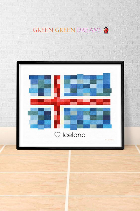 iceland print poster wall art flag iceland europe flags iceland printable download home decor digital print gift greengreendreams