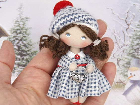 Little OOAK collectible dollhouse miniature doll, birthday gift handmade doll, rag cloth art doll, pocket doll, mini fabric doll Miniature doll 3-1/8 in. Fun gift for a girl 3 to 99 years! original back to school gift! Ready to ship Size 3-1/8 , Handmade, its body made of cotton, hair
