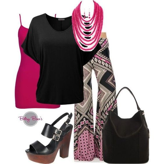 Set 450: Black & Fuchsia Palazzo Set (shoes & bag not included)