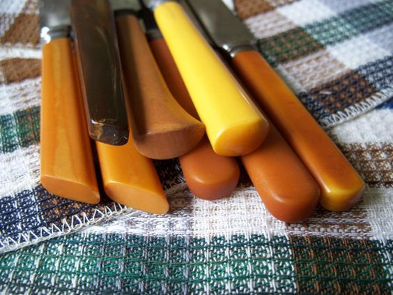Eight assorted Bakelite handled Table Knives by MargsMostlyVintage, $15.00