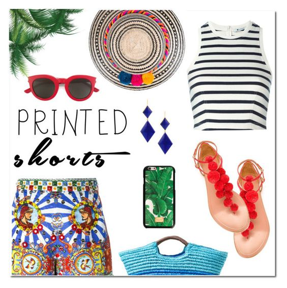 """Printed"" by hellodollface ❤ liked on Polyvore featuring Dolce&Gabbana, T By Alexander Wang, Marie Hélène de Taillac, YOSUZI, Yves Saint Laurent, Aquazzura, Alex + Alex and printedshorts"