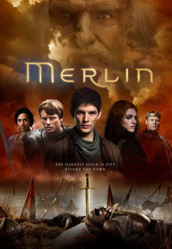 Finale series of Merlin poster - what is with Arthur's face?