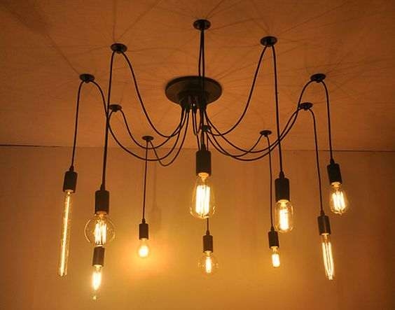 rare vintage style industriel edison 10 t te lampe pour plafond x ampoule edison diy votre. Black Bedroom Furniture Sets. Home Design Ideas