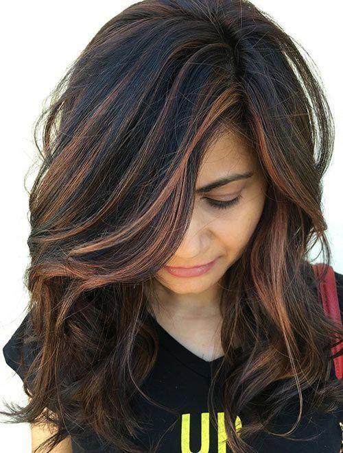 Mit strähnen haare schwarze kupfer Dunkelbraune Haare