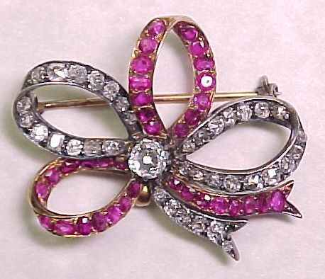 French Victorian 18k Gold & Silver 6.50 ctw Diamond & Ruby Brooch