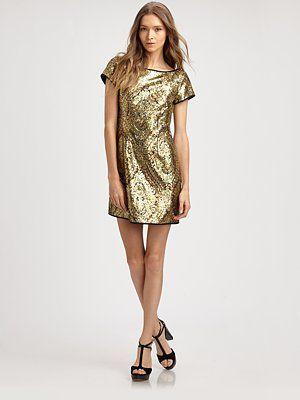Gold. Nanette Lepore Society Sequin Sheath Dress