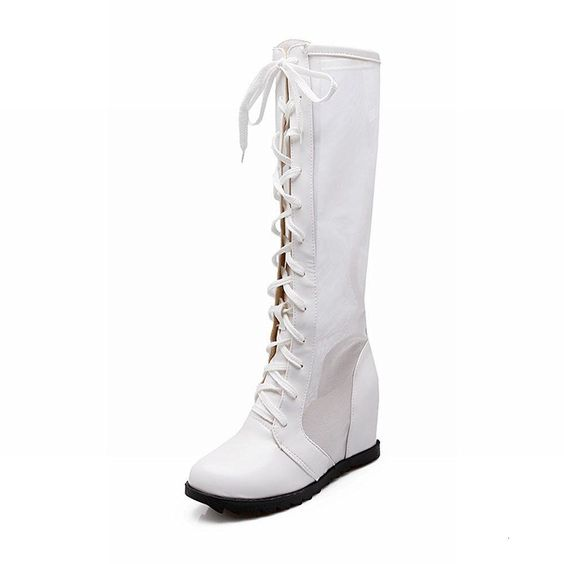 Women's Lace up Voile Mesh Cosplay Gothic Lolita Style Wedge Heel Summer Tall Dress Boots