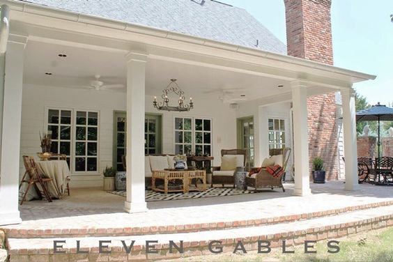 back porch with columns