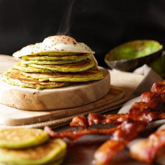 avocado pancakes  bacon &fried egg