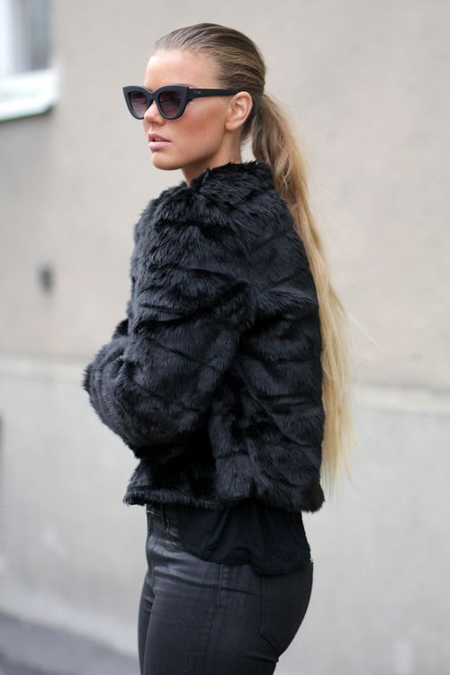 Effortless Glam: cat eye sunglasses & a fur coat. www.topshelfclothes.com