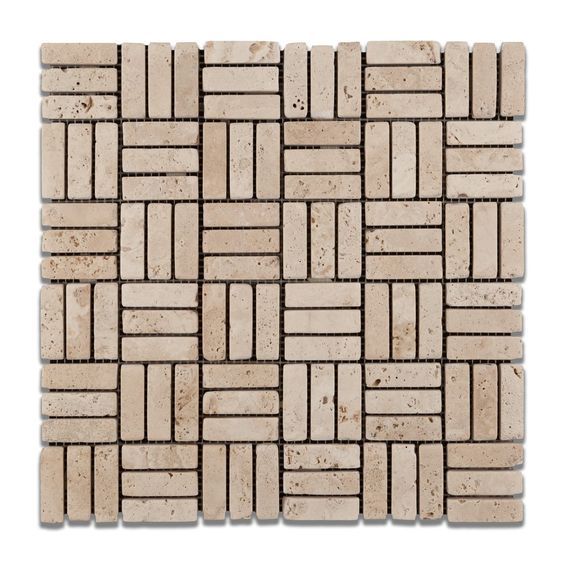 Ivory Travertine Tumbled Triple Strip Medici Mosaic Tile