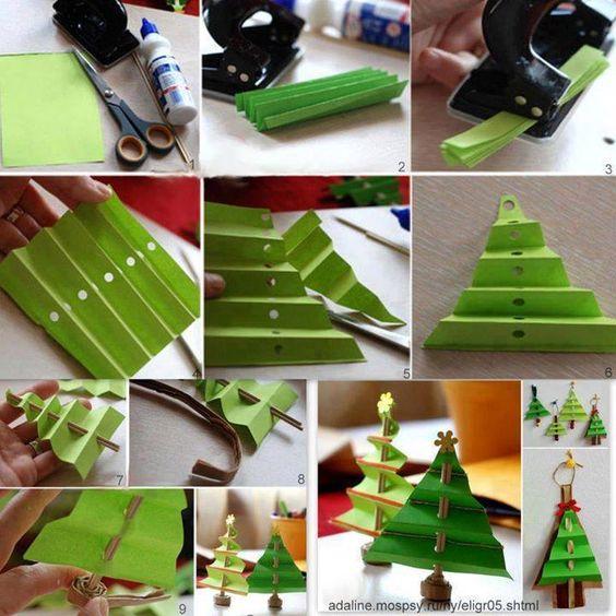 papel doblado árbol de navidad maravilloso DIY Mini Plegada Árbol de Navidad de papel