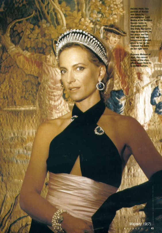 Princess Michael, wearing the London fringe with an added diamond riviere attached to a black velvet kokoshnic to show off the Russian heritage of her husband's family. Image courtesy of a magazine, but no idea which one.