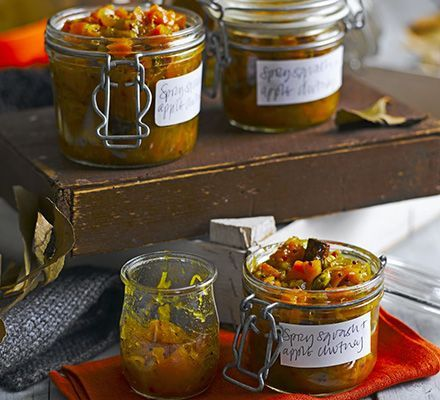 Spicy squash & apple chutney - change the oil for olive and use some date paste for the brown sugar!  Should work a treat!!!
