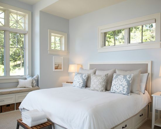 Sherwin Williams Topsail Transitional Bedroom Design