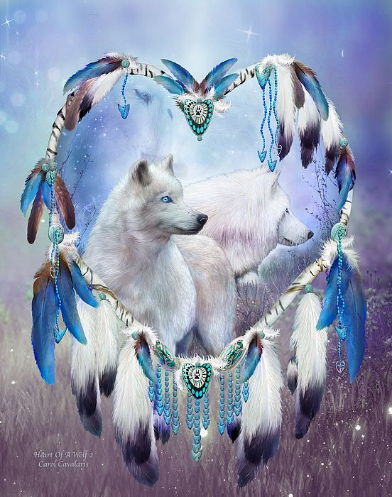 """Heart Of A Wolf 2"" from the Dream Catchers Gallery of Carol Cavalaris - Beautiful, creative mixed media paintings"