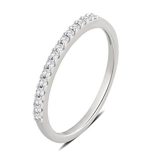 Diamondmuse 1 10 Cttw Diamond Wedding Band In 10k White Gold Diamond Wedding Bands Stackable Diamond Wedding Bands Wedding Bands