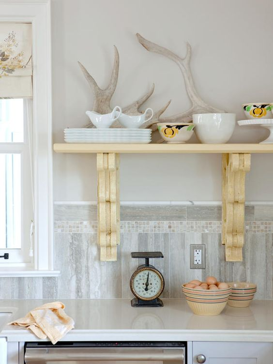 Open shelving adds display space for white and lemon yellow kitchen accessories. (http://www.hgtv.com/designers-portfolio/room/cottage/kitchens/12678/index.html?soc=Pinterest)