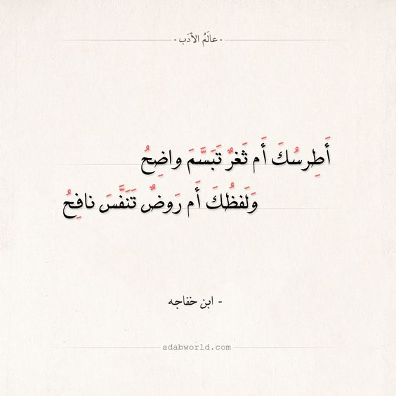 شعر ابن خفاجه أطرسك أم ثغر تبسم واضح عالم الأدب Math George Arabic Calligraphy