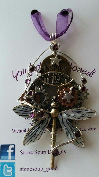 Steam punk dragonfly pendant