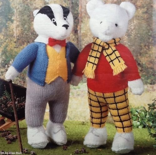 Rupert-Bear-and-Bill-Badger-toy-knitting-patterns-by-Alan-Dart toys and chi...