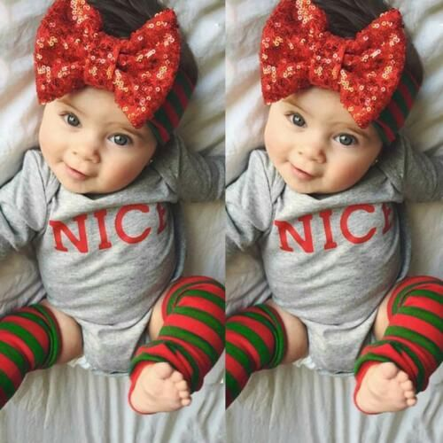 Christmas Baby Girl Infant Romper Tops+Headband+Leg Warmers 3Pcs Outfit Clothes