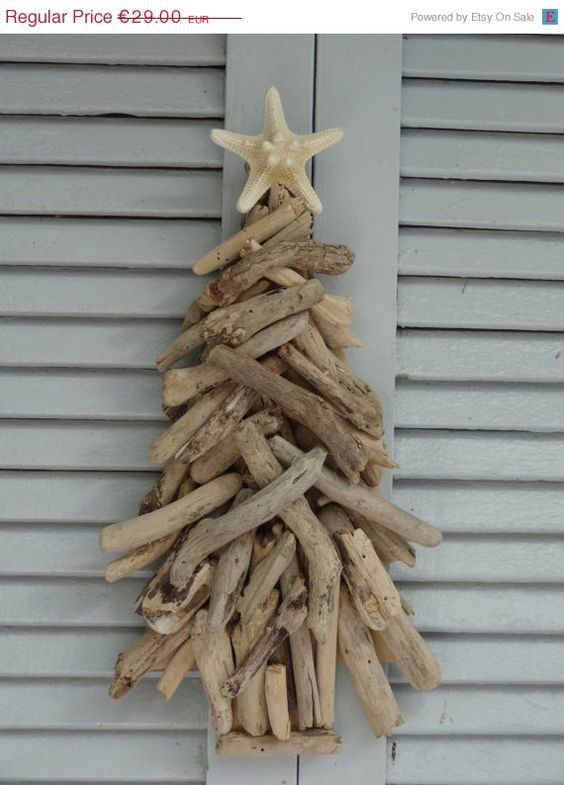 Driftwood natural chistmas tree driftwood decoration for Hanging driftwood christmas tree