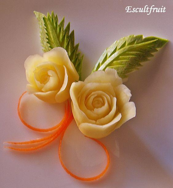 Tallado de frutas y verduras decoración platillos