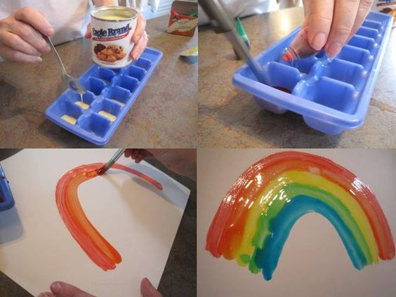 "Read the classic ""A Rainbow of My Own"" by Don Freeman and then have children create their own rainbows using Condensed Milk and food coloring. It doesn't drip, is not costly and is shiny when it dries -- creating beautiful rainbows."