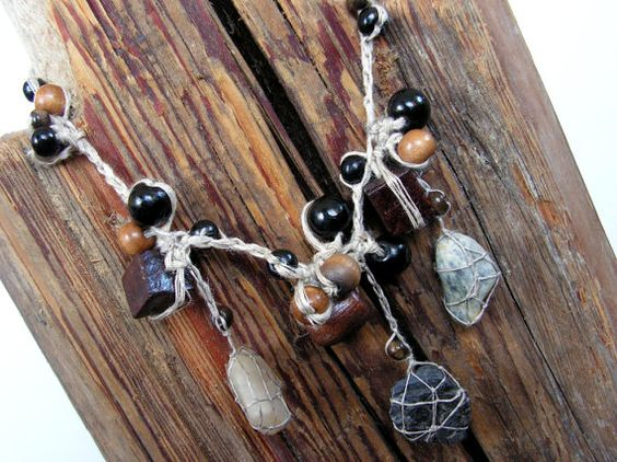 Stones from a mountain stream Linen Natural necklace  by woollinen, $30.00