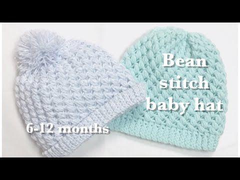 Bean Stitch Crochet Baby Hat 6 12 Months 90 Youtube Crochet Baby Hat Patterns Crochet Baby Beanie Crochet Baby Hats