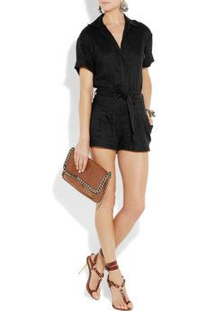 L'Agence Washed Linen Playsuit
